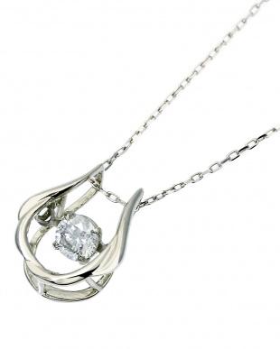 K18WG  ダンシング 天然ダイヤモンド 0.13ct 馬蹄ネックレス見る