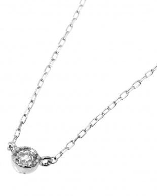 K18WG 天然ダイヤモンド 0.03ct 一粒ネックレスを見る