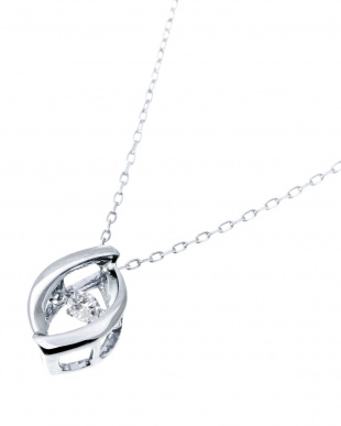 K18WG  天然ダイヤモンド 0.03ct ダンシング デザインネックレス見る