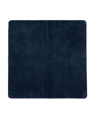 ブルー 洗えるミンクタッチラグ 185×185cm アルミシート付見る