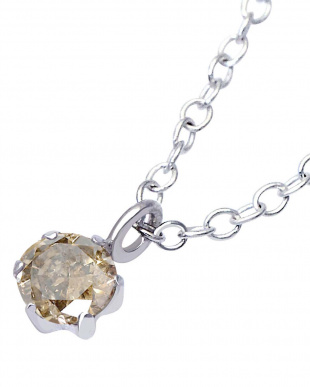 Pt900/SV シャンパンカラー天然ダイヤモンド 0.07ct 6本爪ネックレス SVチェーン見る