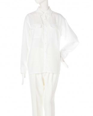 ホワイト ナチュラルタッチソフトシャツ ピンキー&ダイアン見る
