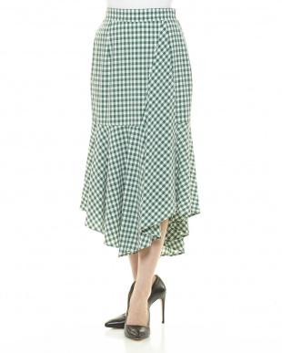 グリーン ギンガムチェックラップ風スカートを見る