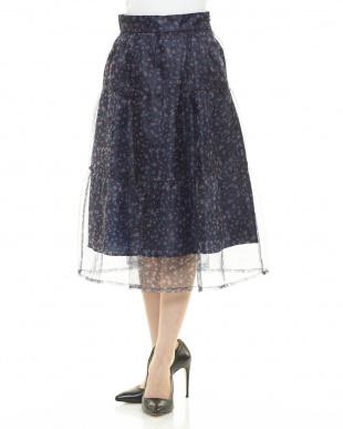 ネイビー シアーフラワーオーガンジースカートを見る