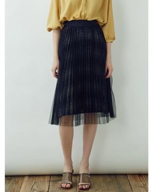 ブラック プリーツチュールレイヤードスカート LAGUNAMOON見る