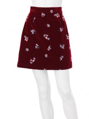 ブラウン フラワー刺繍ベロアスカート MERCURYDUO見る