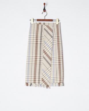 ブラウン オリジナルチェックタイトスカート見る