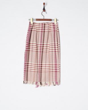 ボルドー オリジナルチェックタイトスカート見る