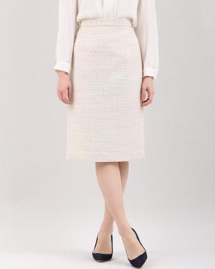ベージュ2 《大きいサイズ》ツイードAラインスカート INED L size見る