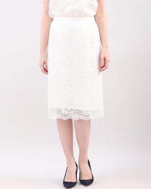 オフホワイト1 総フラワーレースタイトスカート CLEAR IMPRESSION見る
