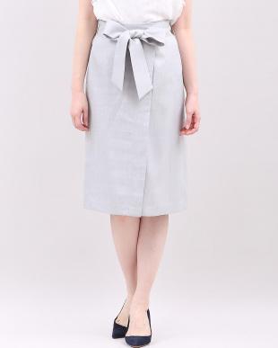 グレー1 《WEB限定大きいサイズ》ラップ風リボンベルトスカート CLEAR IMPRESSION見る