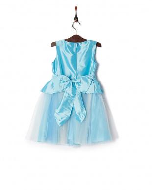 ブルー  グラデーションペプラムドレス見る