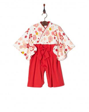 白地に梅桜x赤  ベビーギフトに!袴ロンパース見る