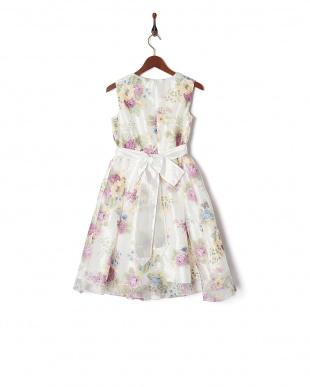 パープル  花柄オーガンジードレス見る