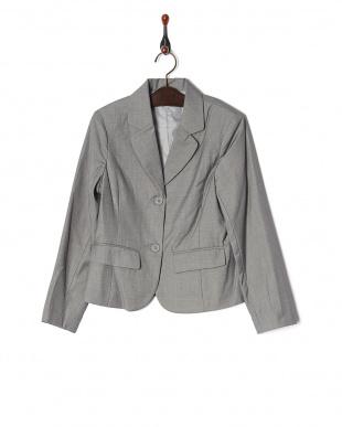 ブラック  コンパクトジャケット&チェック柄プリーツスカート2点セット見る