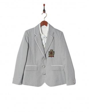 グレー×ホワイトチェック  子供スーツ チェックスカート&ブレザー5点セット見る