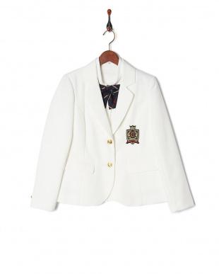 ホワイト×ネイビーチェック 子供スーツ チェックスカート&ブレザー5点セット見る
