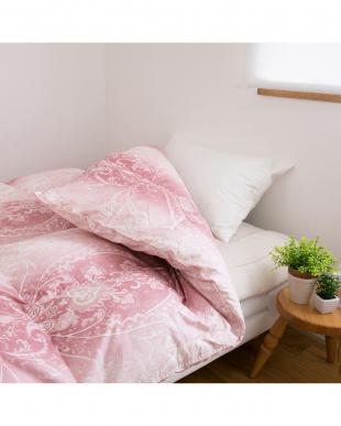 ピンク  価値あるダウン 羽毛ふとん 高級カナダマザーグースダウン95% セミダブル見る