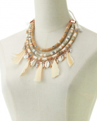 OFF WHITE FEATHER BEADS NECKLESS見る
