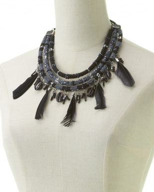 BLACK FEATHER BEADS NECKLESS見る