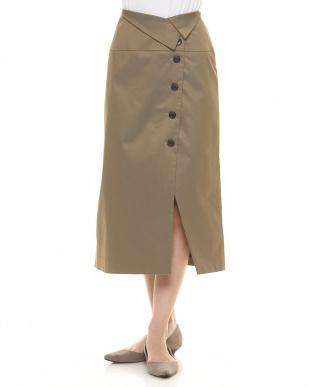 BLACK 【Hamac】ウエスト折返セミAラインスカート見る