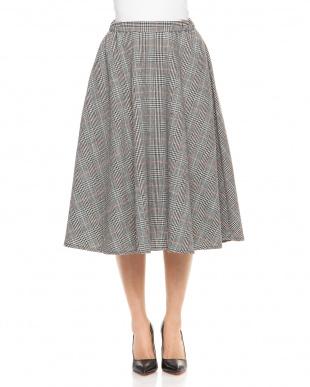 ブラウン グレンチェックフレアースカートを見る