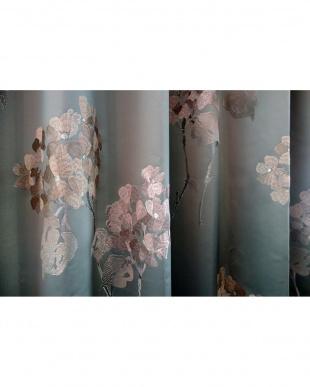 ブルー  PATRIZIAドレープカーテン 200cm(幅)×140cm(丈)見る