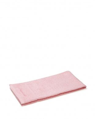 ピンク/ピンク 今治マーク付きヘリンボーン柄フェイスタオル 2枚セット見る