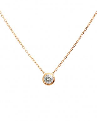 K10PG 天然ダイヤモンド 豪華2点福袋 フクリンネックレス&プチピアス[2点合計0.14ct]見る