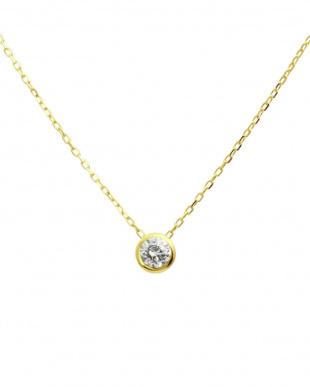 K10YG 天然ダイヤモンド 豪華2点福袋 フクリンネックレス&プチピアス[2点合計0.14ct]見る