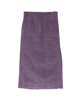 パープル コーデュロイタイトミディアムスカート見る