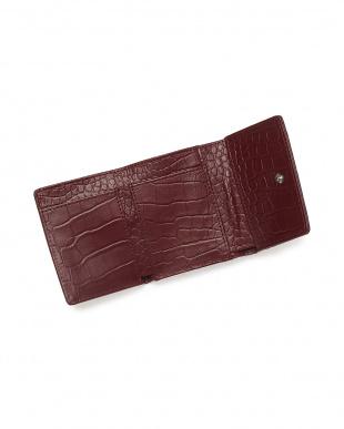 アンティークワイン  クロコダイル& 牛革クロコ型押し コンパクト財布見る