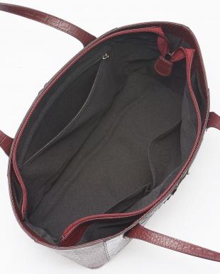 ブラックワイン  クロコダイルホーンバック&牛革クロコ型押しハンドバッグ見る