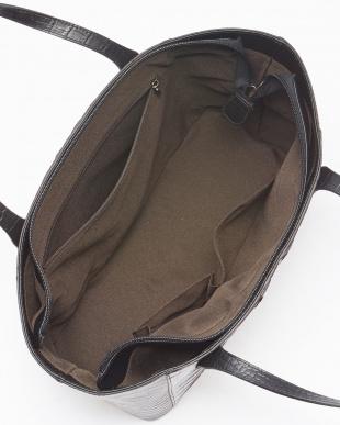 ニコチンブラック  クロコダイルホーンバック&牛革クロコ型押しハンドバッグ見る