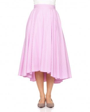 ピンク カラーストライプスカートを見る
