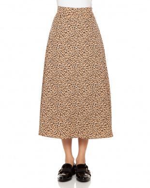 キャメル レオパード柄フレアースカートを見る