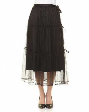 ブラック ドットチュールティアードスカートを見る