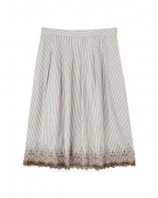 ベージュ トルコ刺繍ストライプスカート Aylesbury見る