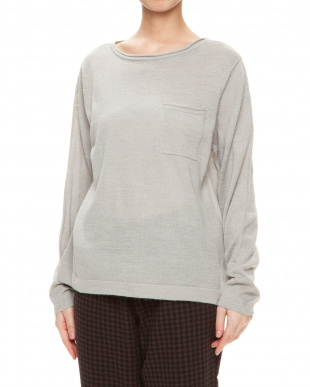 ライトグレーモク ショート胸ポケットセーターを見る