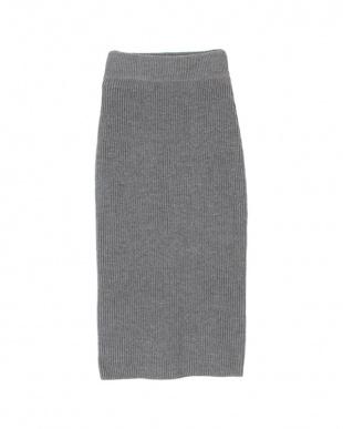 杢グレー ニットロングタイトスカート見る