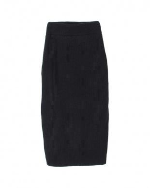 ブラック ニットロングタイトスカート見る