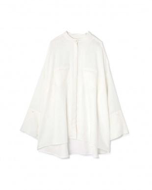 ホワイト1 オーバーサイズスタンドカラーシャツ R/B(オリジナル)見る