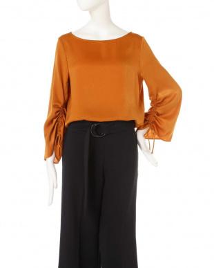 オレンジ ◆大きいサイズ◆ピーチサテンギャザーブラウス 22 OCTOBRE L見る