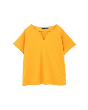 イエロー [Weeked Lie]◆大きいサイズ・洗える◆キーネックTシャツ 22 OCTOBRE L見る