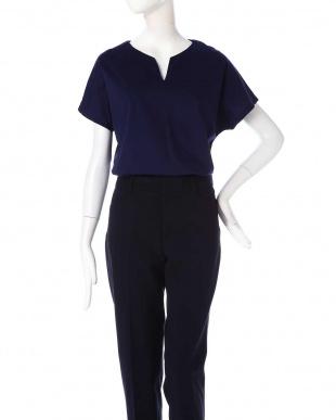 ネイビー [Weeked Lie]◆大きいサイズ・洗える◆キーネックTシャツ 22 OCTOBRE L見る