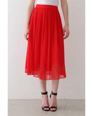 レッド シフォン楊柳タックギャザースカート TOKYO STYLIST THE ONE EDITION見る