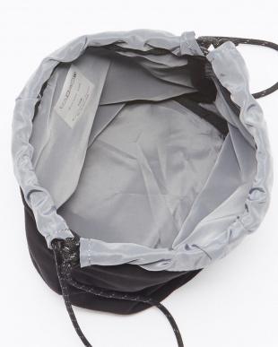 ブラック/グレー スウェード巾着バッグ(SUEDE POUCH BAG)見る