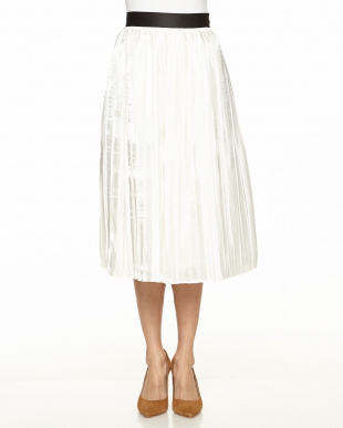 ホワイト シャインプリーツスカート見る