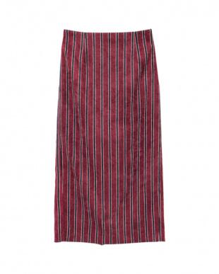 ボルドー ストライプコーデュロイタイトスカートを見る