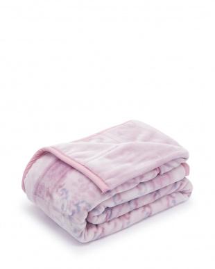 ピンク  ふっくらボリューム2枚合わせ毛布見る